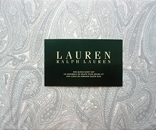 Lauren Ralph Lauren 4 Piece Cotton Queen Size Sheet Set Light Pale Blue Gray Paisley Pattern on White