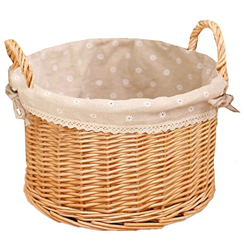 XIUWU Wicker Laundry Hampers Natural Rattan Bedroom Storage Baskets With Lining Beige 1