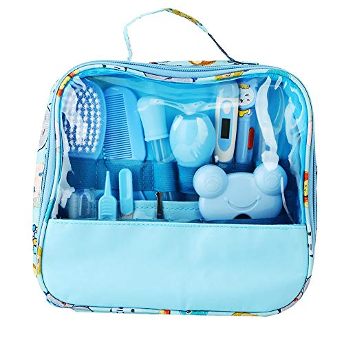 Baby Nail Care Kit, 13PCS Essential Baby Healthcare and Grooming Kit Set Nail Care Cleaning Set Nursery Essentials Set for Infants Newborns Kids Boys and Girls(Blue)