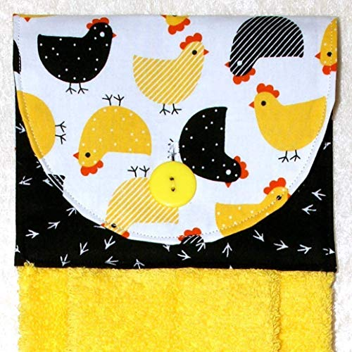 Hanging Hand Towel - Kitchen Towel - Plush Yellow Towel - Yellow And Black Chicken Print Fabric ()