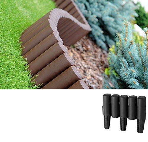 Palisade dunkel Anthrazit 2,7m Beeteinfassung Rasenkante Kunststoffpalisade Beetumrandung Gartenpalisade