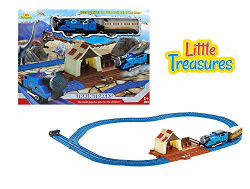 Little Treasures Electric Train Toy With Light Sound And Tracks   Join Us On The Journey Thru The Rocky Dinosaur Mountains  With A Train Platform Station Great Gift Set For Boys And Girls