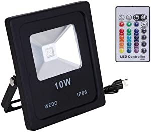 WEDO [Updated RF Remote Control] 10W RGB LED Flood Light Ultra Bright IP66 Waterproof 16 Colors Change with RF 30m (98ft) Remote Wall Wash Security Light with US 3-Plug for Outdoor Garden Yard Hotel