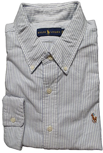 Polo Ralph Lauren Men's Striped Long Sleeve Oxford Shirt L Blue / - Ralph Lauren Striped