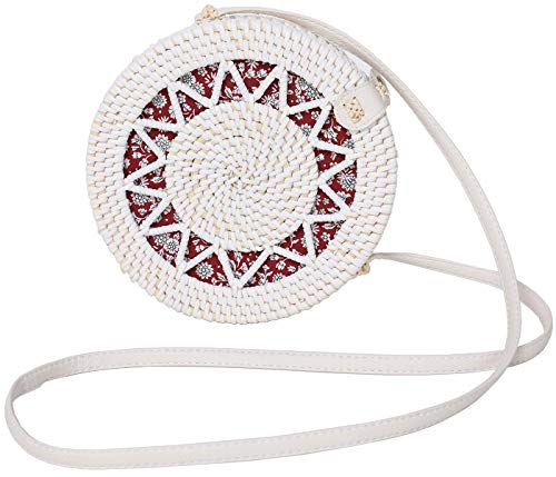 Rattan Bags for Women - Handmade Wicker Woven Purse Handbag Circle Boho Bag Bali - Crossbody Flat Sunflower White