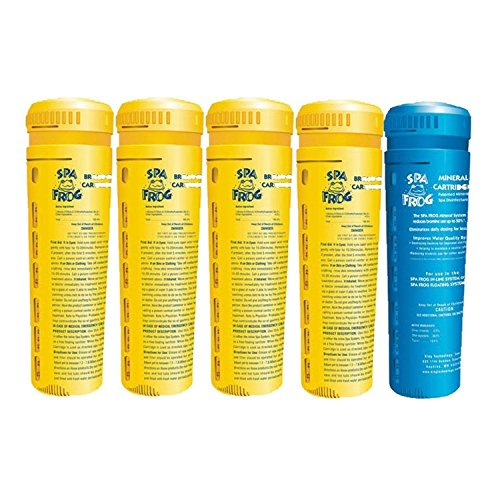 5 pack spa frog replacement cartridges, 4 bromine/ 1 mineral, Bundled with Floating Buoy Üben Pool Thermometer