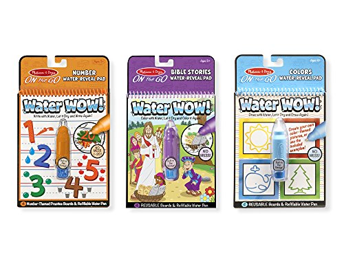 Melissa & Doug On the Go Water Wow! Reusable Water-Reveal Activity Pads, 3-pk, Colors and Shapes, Numbers, Bible Stories (Activities And Colors Shapes)