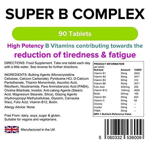 Lindens Supercomplejo de vitamina B en comprimidos | 90 Paquete | Fórmula superpotente que contiene 8 vitaminas B fortalecidas con vitamina C, colina, ...