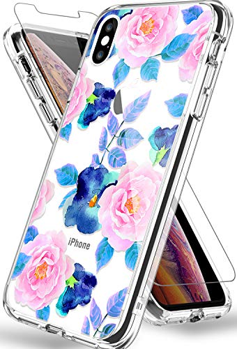 "KINFUTON for iPhone Xs Max Case with Screen Protector, Clear Flower Pattern Design Hard PC+ TPU Shockproof Girls and Women Floral Slim Fit Cover Cases for iPhone Xs Max 6.5"" 2018 (Flowering/Pink)"