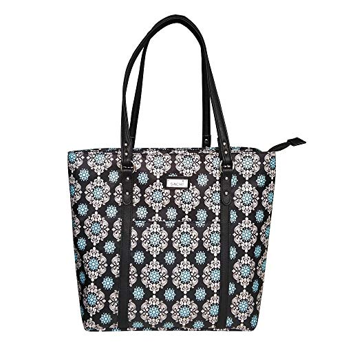 Sachi Two Tote Duel Compartment Insulated Lunch Tote Bag - Black Medallion
