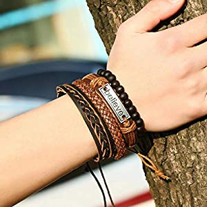 University Trendz Natural Stone Beads Inspirational Believe Words Metal Genuine Leather Bracelet for Men Casual Wear(Set of 4)