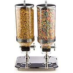 Stainless Steel Double Cylinder Dry Food Dispenser, Includes Bowl Tray And Portion Control Mechanism