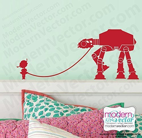 Little Girl Walking Her pet AT Vinyl Wall Decal (Little Girl Walking)