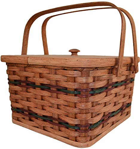(Amish Handmade Large Square Double Pie Carrier Basket with Inside Tray, Lid, and Two Swinging Carrier Handles. Possibility of Fresh Stain Odor, Will Need to Be Aired Out Upon Product Arrival. Colors May Vary.)