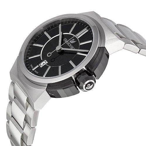 7ab80dd15d25 Amazon.com  Swarovski Piazza Grande Black Dial Stainless Steel Quartz Mens  Watch 1094353  Swarovski  Watches