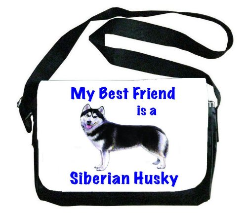 My Best Friend is Siberian Huskyメッセンジャーバッグ B00EXC1LUO