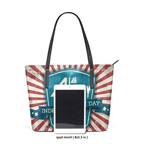 COOSUN Independence Day Shield Blau PU Leder Schultertasche Handtasche und Handtaschen Tasche für Frauen