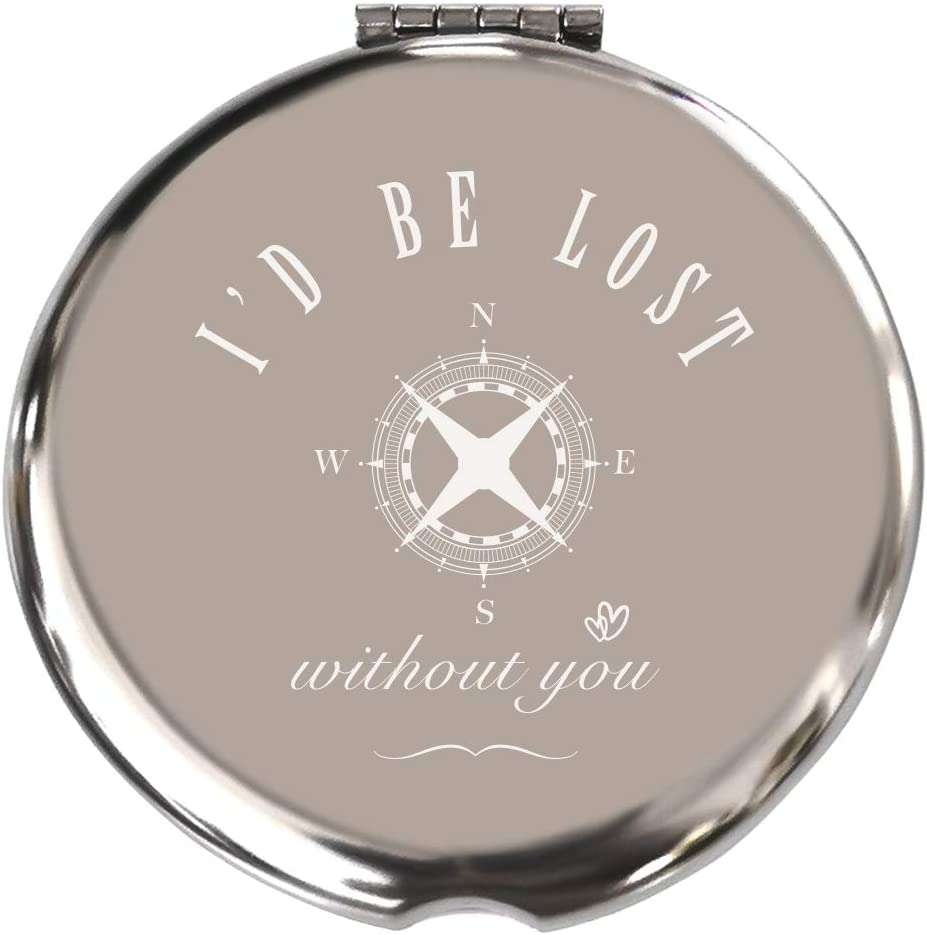 Blue Leaves Birthday Gifts for Girlfriend-I'd Be Lost Without You-Romantic Gifts for Her, for Her,Fiance Gifts for Her, Girlfriends Gift-Stainless Steel Mirror,