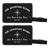 Personalized Wedding Anniversary Gifts Custom Names & Date Our Adventure Begins Personalized Wedding Gifts Personalized 2-pack Laser Engraved Leather Luggage Tags Black