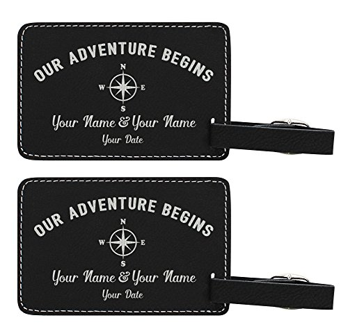 Personalized Wedding Anniversary Gifts Custom Names & Date Our Adventure Begins Personalized Wedding Gifts Personalized 2-pack Laser Engraved Leather Luggage Tags Black by Personalized Gifts