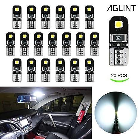 AGLINT 20X Ampoules T10 LED CANBUS Sans Erreur Voiture Lampe 12V Blanc T10 W5W 2825 Inté rieur De Voiture Lumiè re Dô me Feux De Plaque AGLINTLED