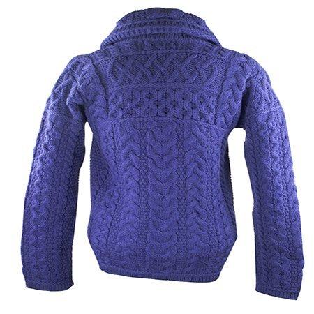 Irish Merino Wool Double Collar Zipper Aran Sweater, Violet L