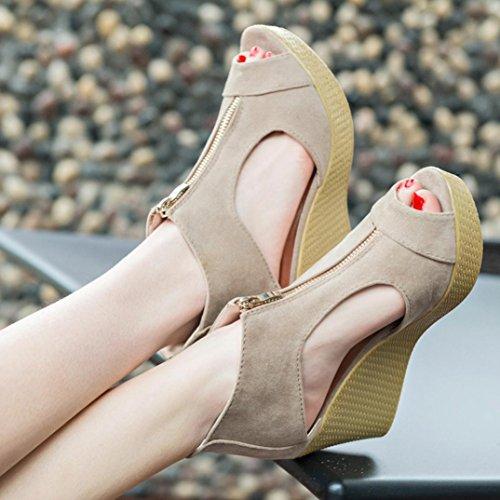 Mujer Fiesta Toe Mujer Alto Señora Tacon Sandalias Peep Plataforma Cuñas Chanclas Amlaiworld Zapatos Playa de de Caqui de Vestir de de ❤️ Casual Verano Chancletas Tacón de Sandalias Sandalias pZqzw4t