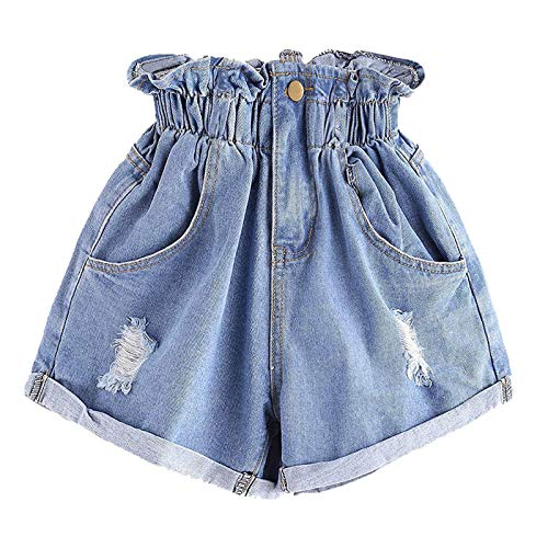 Thenxin Womwn's Paper Bag High Waist Denim Shorts Rolled Hem Ripped Light Blue Jeans Hot Pants
