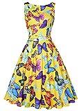 ihot Vintage 1950's Floral Spring Summer Dress Garden Picnic Party Cocktail Dress