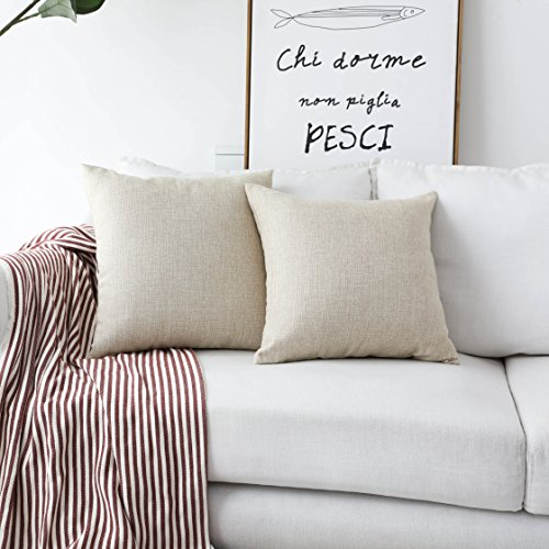 (HOME BRILLIANT Mother's Day Decoration 2 Pack Burlap Decorative Pillow Covers Lined Linen Cushion Sham for Living Room, 18x18 inches, Light Linen)