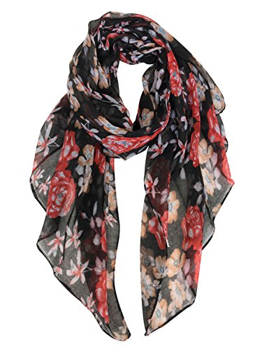 GERINLY Lightweight Scarves: Fashion Flowers Print Shawl Wrap For Women (Black Red) -