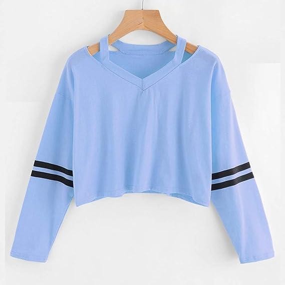 Tops Blancas Camisas Vestidos Mujer Camiseta bluson Chica Otoño Invierno Moda para Mujer Sudadera de Manga Larga con Cuello en v Tops causales Blusa: ...