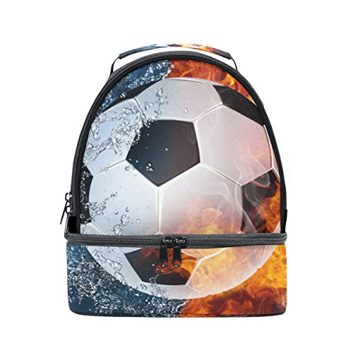 Dual Compartment Lunch Bag Soccer Ball In Fire And Water Insulated Cooler Work School Picnic Lunch Box with Carry Shoulder Strap by My Little Nest