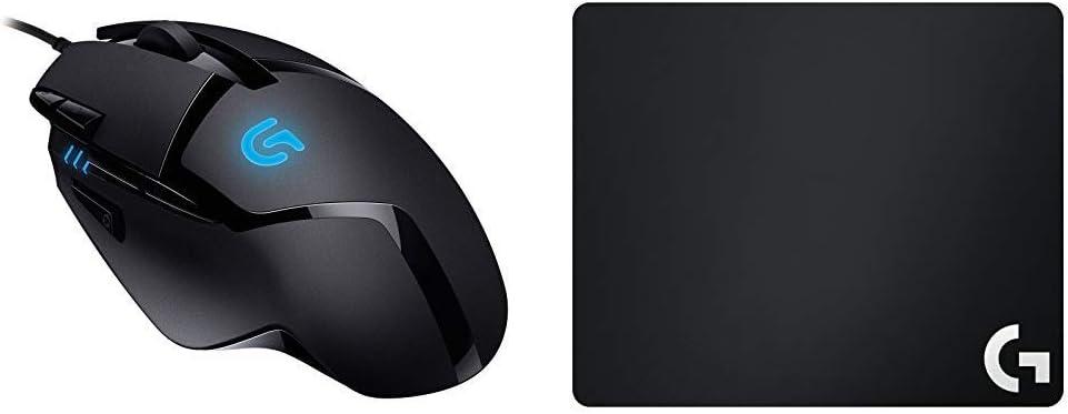 Logitech G402 - Ratón para Gaming con 8 Botones programables Hyperion Fury, Negro + G240 Alfombrilla de Tela para Juegos