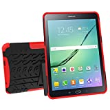 Galaxy Tab S2 9.7 Case, MCUK Heavy Duty Rugged Dual Layer - Soft/Hard Shell 2 in 1 Tough Protective Cover Case with Kickstand for Samsung Galaxy Tab S2 Tablet (9.7 Inch, SM-T810 T815 T813) (Red)