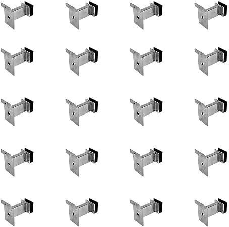 MH GLOBAL 10 Pieces Chrome 12 Inch Slatwall Rectangular Tube Hangrail Brackets for Retail Display