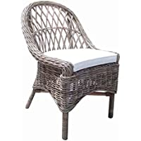 Padmas Plantation KUB12-S/2 Cross Weave Dining Chair, Set of 2, Kubu Grey