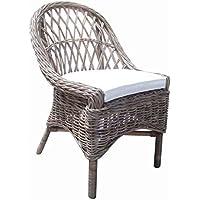 Padmas Plantation KUB12-S/2 Cross Weave Dining Chair, Set of 2, Kubu Grey