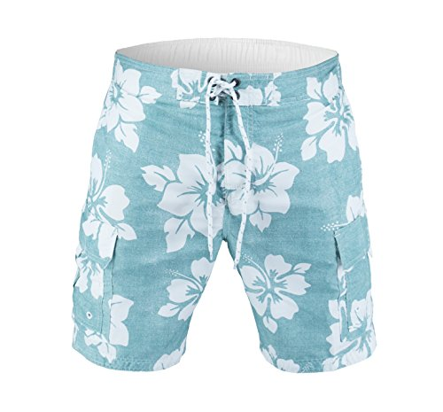 - US Apparel Men's Beach Patrol Hibiscus Swim Trunks, Aqua, X-Large