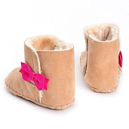 Estamico Baby Girls 'Fleece Bowknot Botas de nieve caqui Talla:3-6 meses caqui