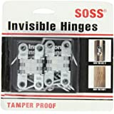 "SOSS Mortise Mount Invisible Hinges with 4 Holes, Zinc, Satin Chrome Finish, 2-3/8"" Leaf Height, 1/2"" Leaf Width, 23/32"" Leaf Thickness, #7 x 1-1/4"" Screw Size (1 Pair)"