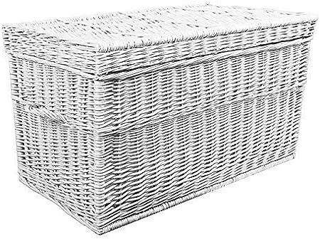 Cesta de mimbre 50 60 70 80 90 cm, color blanco, cofre de mimbre baúl baúl baúl baúl para juguetes baúl diseño, mimbre, Weiß Gebleicht / Creme, 50x35x35: Amazon.es: Hogar