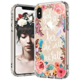 MOSNOVO iPhone Xs Case, iPhone X Case Clear, Floral Flower with Christian Quote Pattern Printed Clear Design Transparent Plastic Back Case with TPU Bumper Protective Case Cover for iPhone X/iPhone Xs