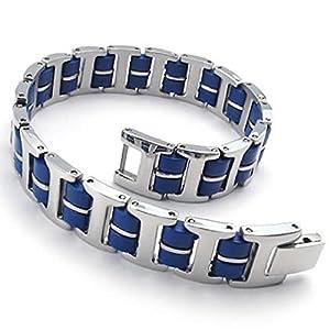 KONOV Men's Bracelet Bangle, Stainless Steel Rubber, Color Blue Silver