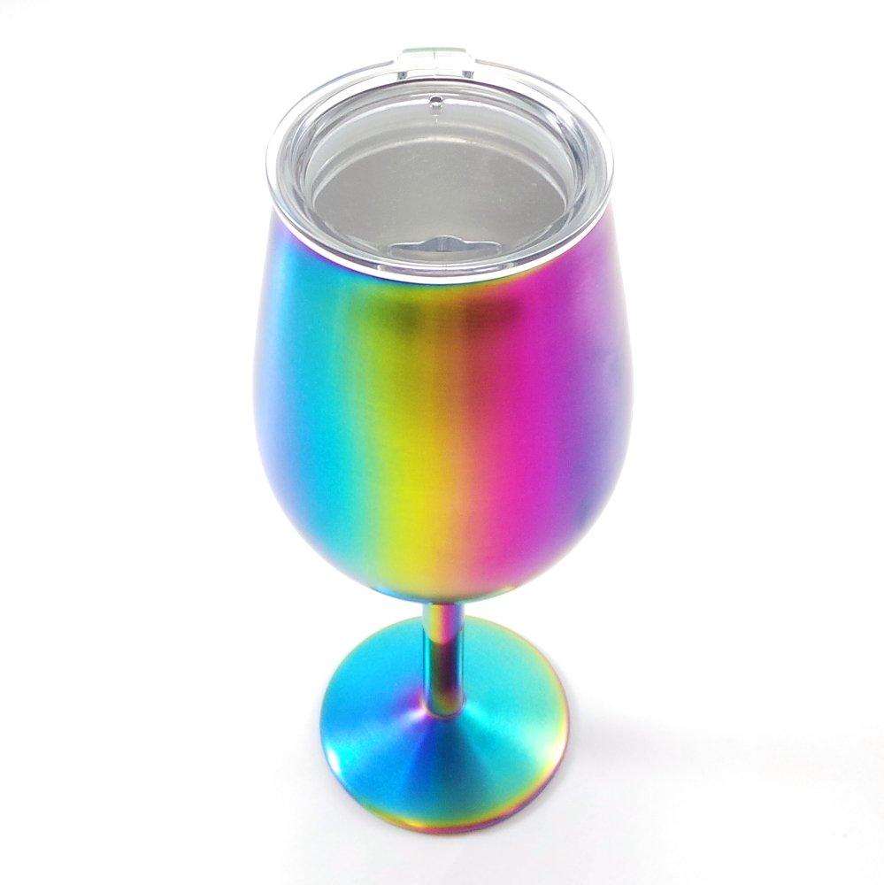 Shatterproof Stainless Steel Wine Glasses (Set of 4), Titanium Rainbow Colored Finish, Lids Included, Long Stemmed by Great Spirit Wares (Image #5)
