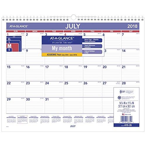 AT-A-GLANCE 2018-2019 Academic Year Wall Calendar, Medium, 15 x 12, Wirebound (AY828) by At-A-Glance (Image #1)