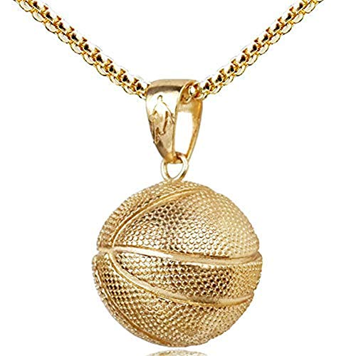 AILUOR Fashion Basketball Pendant Necklace Stainless Steel Chain Hip Hop Sports Necklace Fitness Jewelry (Gold)