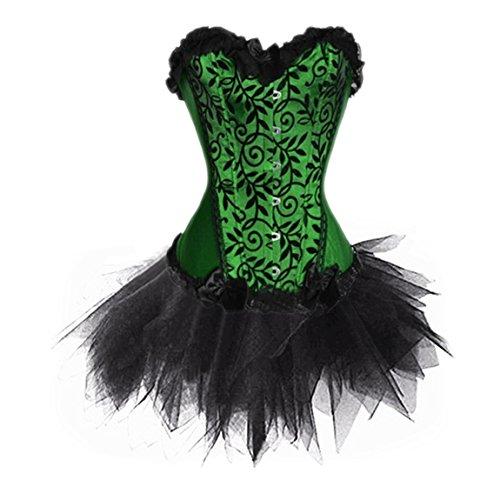 Frauen Steampunk Korsett Schnüren Kunstleder Corsage Burlesque Kostüm Clubwear Grün yHOxk61