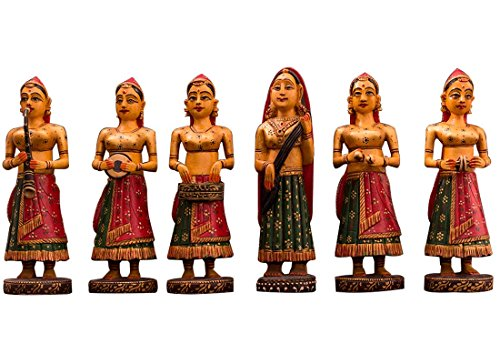 CraftedIndia Exquisite Wooden Lady Musician Showpiece For Home Décor