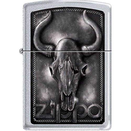 Zippo Bull Skull Satin Chrome Lighter